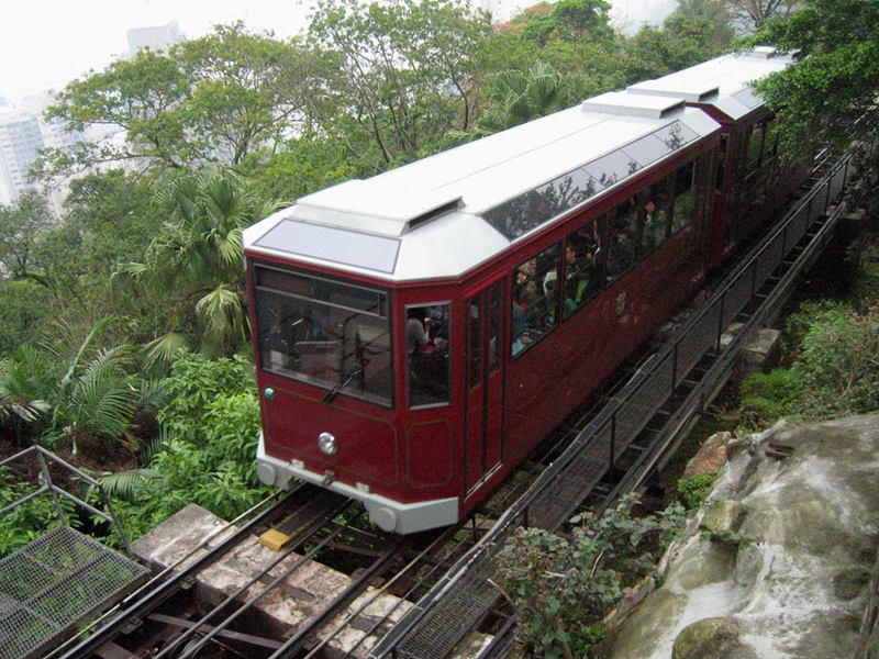 The Peak,train journey, The steepest funicular railway in the world