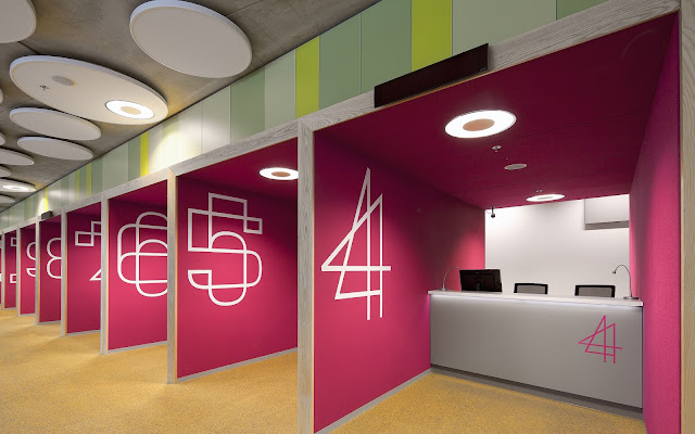 Picture of pink walls in the offices