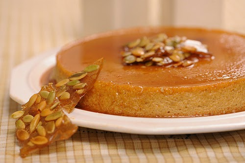 http://www.apronstringsblog.com/pumpkin-recipe-pumpkin-flan-recipe-with-pepita-brittle-garnish/