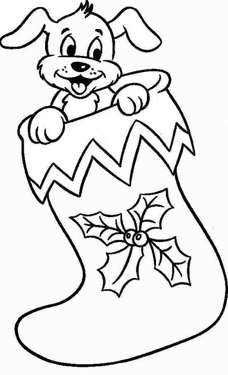 coloring pages dogs christmas - photo#7
