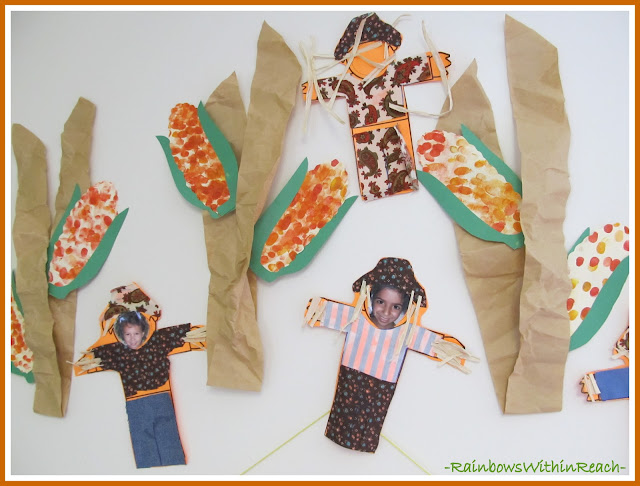 photo of: Painted Indian Corn Stalks and Scarecrows (Fall RoundUP via RainbowsWithinReach)