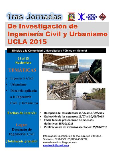 Memorias I Jornadas de Investigación de Ingeniería Civil y Urbanismo UCLA 2015