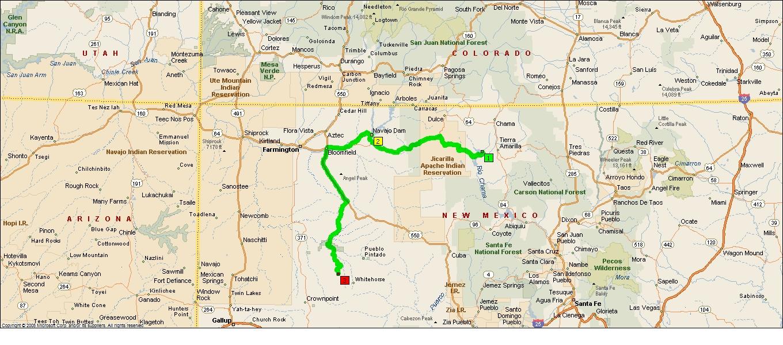 heron lake to navajo lake and south to chaco canyon