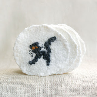 Halloween black cat coasters