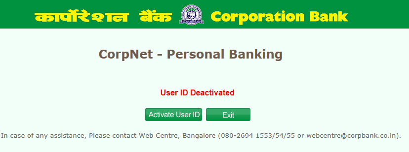 activate internet banking corporation bank