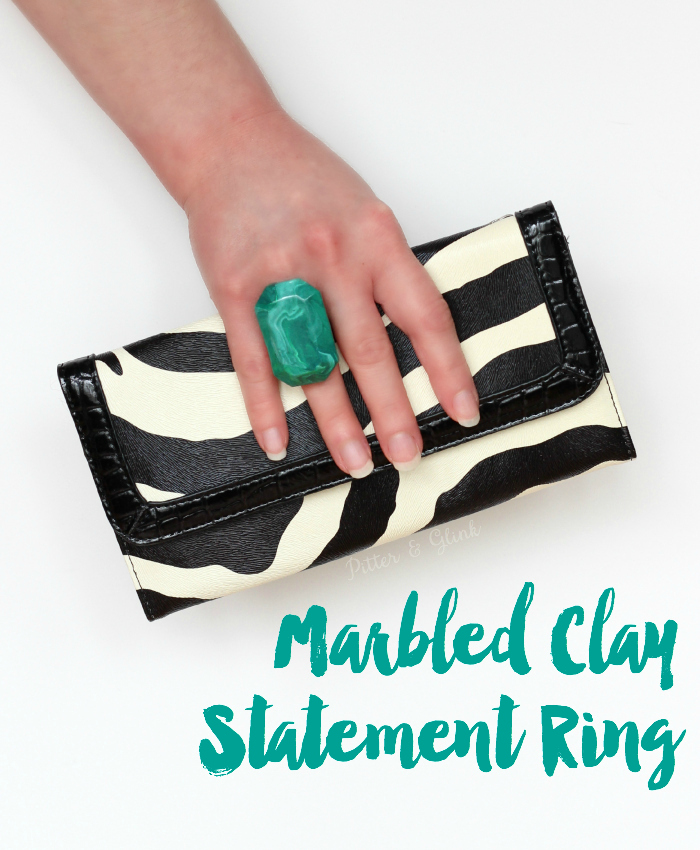 Marbled Statement Ring--Make this pretty ring using polymer clay! www.pitterandglink.com