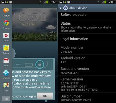 Novedades del primer firmware de desarrollo filtrado de Android 4.2.1 (I9300XXUFMB3) para el Galaxy S3: Android 4.2.1 – JOP40D Mejoras en el efecto Ripple en la Lockscreen Nueva pantalla de bloqueo Android 4.2.1 con widgets Daydream (Configuración → Pantalla) Nuevas adiciones y mejoras en el centro de Notificaciones Las notificaciones son más accionables Comandos por voz (que permiten controlar diferentes funcionalidades de tu smartphone con la voz) Precauciones: Este firmware es de desarrollo no es oficial, pero que ha sido probado por la gente de SamMobile y XDA quienes no reportan mayores bugs y se puede instalar sin problemas en