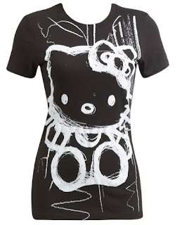 Hello Kitty Black doodle scribble graffiti T-Shirt