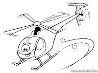 Mewarnai Gambar Helikopter Kartun Untuk Anak-Anak