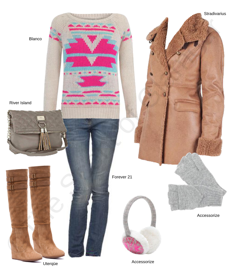 blanco knitwear, blanco tricot, accessorize gloves, accessorize ear muff, forever 21 jeans, stradivarius coat, river island grey shoulder bag, uterque boots