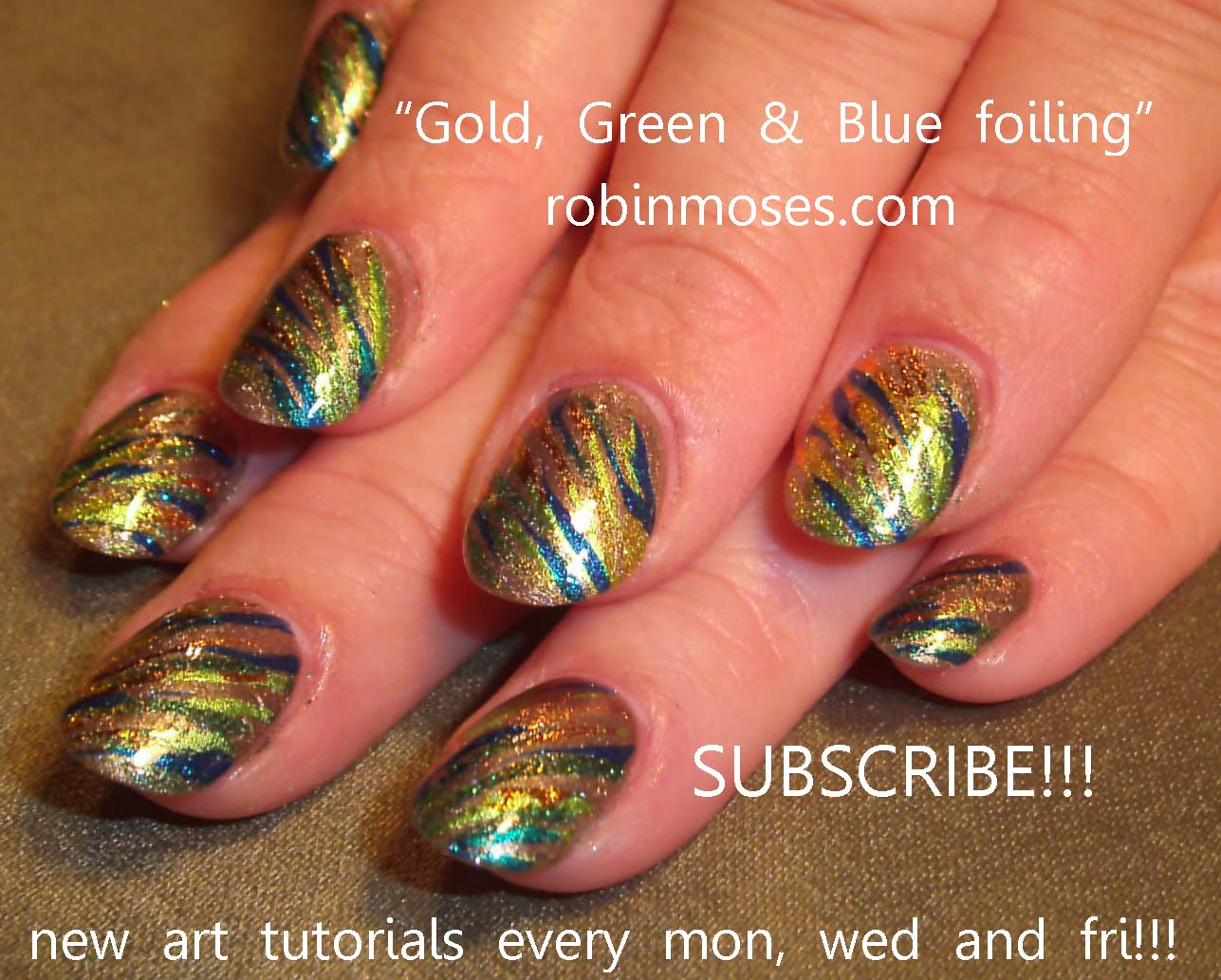 Simple autumn leaves autumn leaves fall leaves fall nail art blue green and gold glitter and gold foiling for fallrobin moses nail art tutorial prinsesfo Choice Image