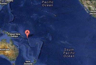Epicentro sismo 7,1 grados en islas Santa Cruz, el 08 de Febrero de 2013