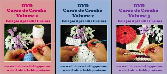 coleção aprendi e ensinei croche com 3 dvd para curso de croche com edinir-croche