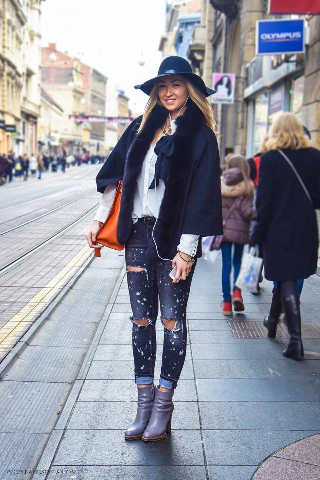 distressed jeans winter. Style idea how to wear your distressed jeans in winter months, Zagreačka zimska špica i stajling inspiracije, zg špica cure