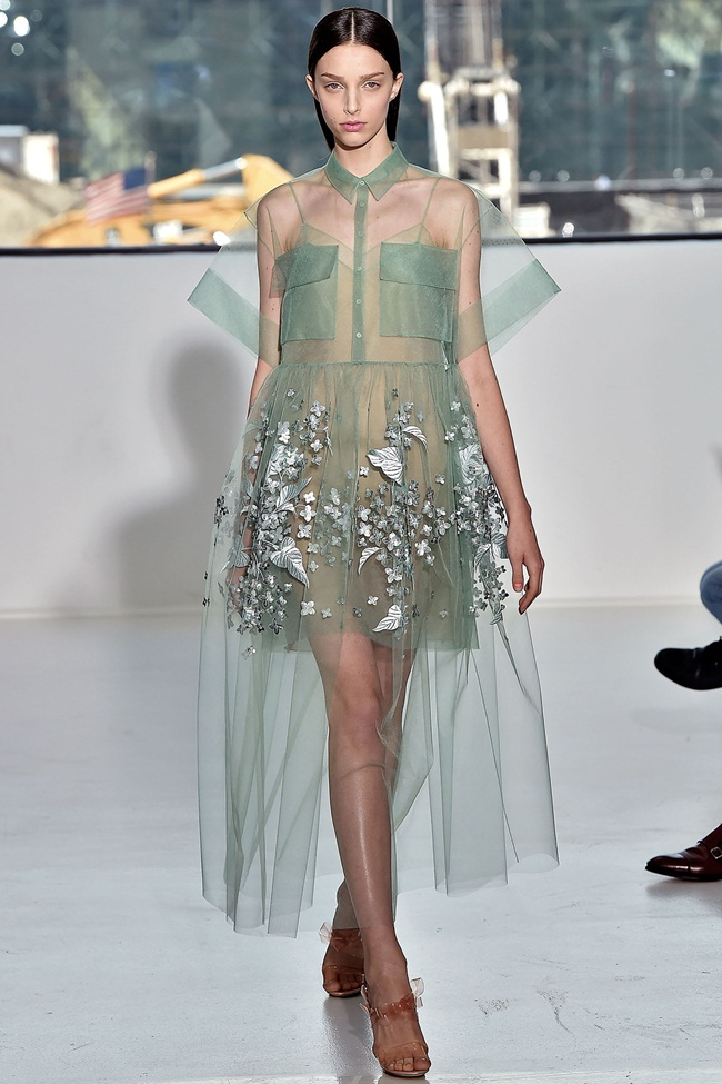 Delpozo RTW Spring 2015 Mint Print Embroidered Bobbinet Tulle Dress on Runway