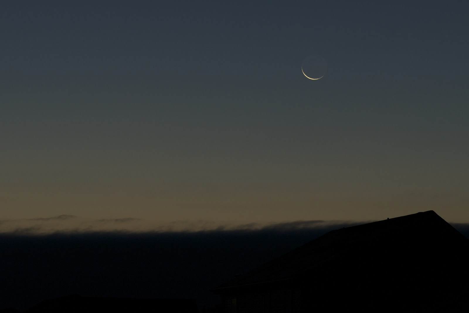 very slim crescent moon
