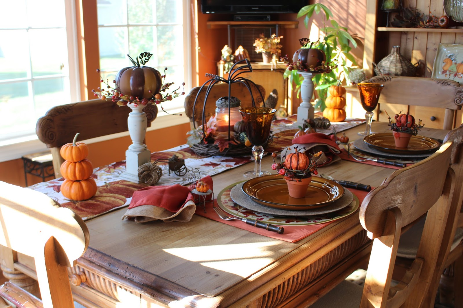 I Am Using A Regular Placemat, Round Placemat, A Burlap Charger, A Leaf  Dinner Plate And My Pumpkin Salad Plate. On Top Of Al That Is A Small Clay  Pot ...