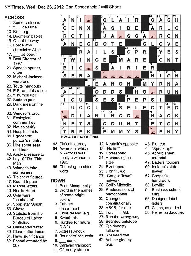 The New York Times Crossword In Gothic December 2012