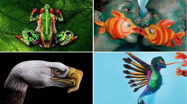 22 magistrales pinturas corporales que disfrazan a los humanos como animales