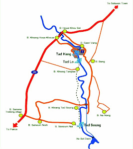 Map of Tad Hang waterfalls