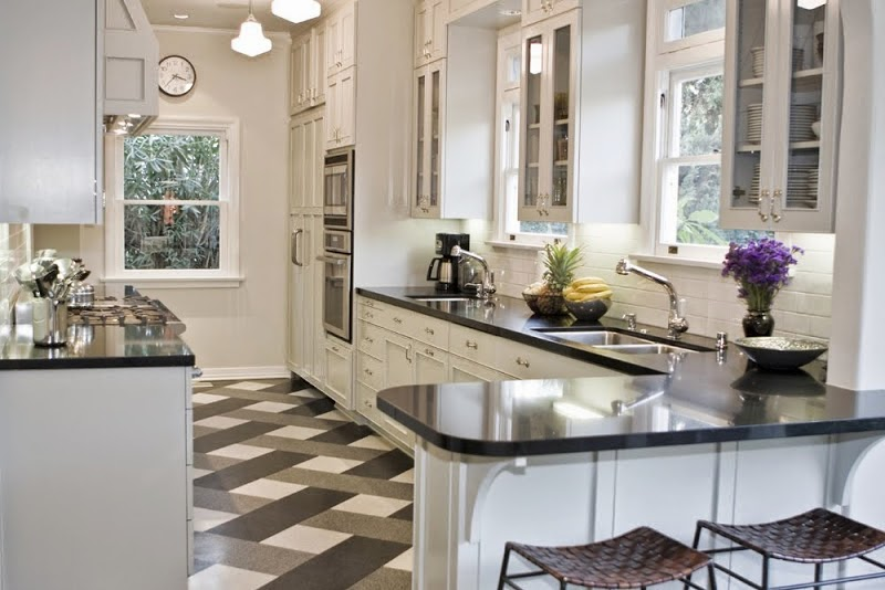 Black and White Kitchen Ceramic Tile