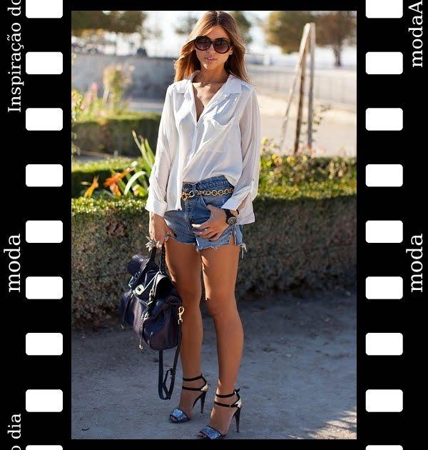 look-inspirador-do-dia-com-shorts-jeans-e-camisa-branca