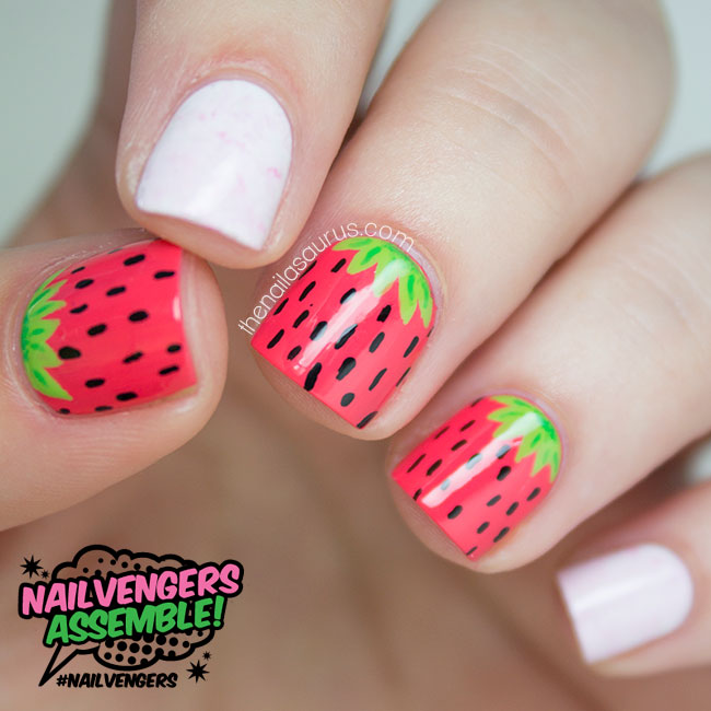 Strawberries and Cream Nail Art | The Nailasaurus