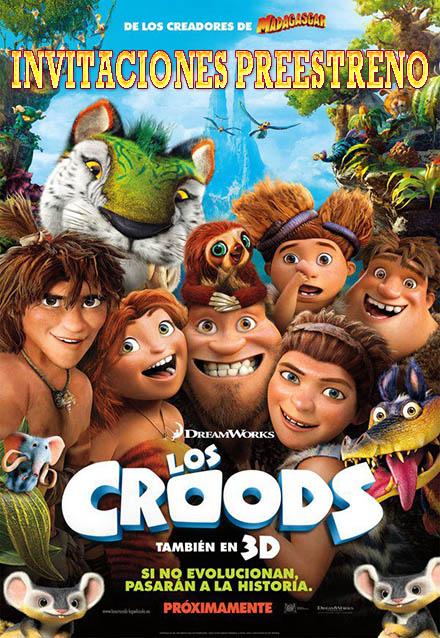 Invitaciones preestreno de Los Croods.