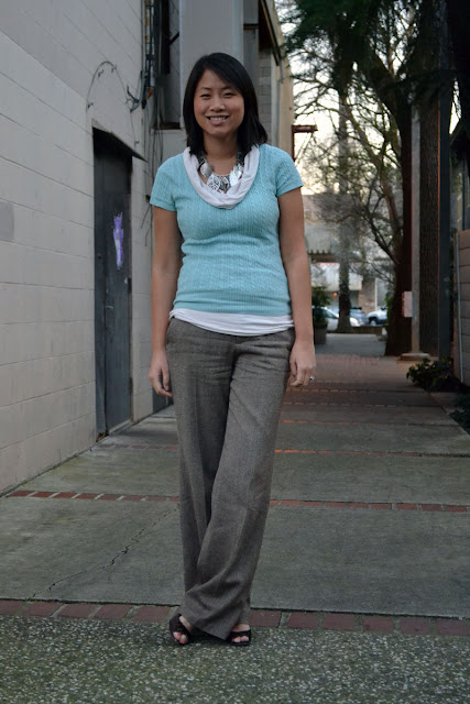 sacramento office fashion blogger angeline evans the new professional blog business casual gap blue sweater banana republic cowl old navy trousers enzo angiolini peeptoes nordstrom pyramid stud earrings leaf necklace