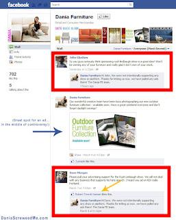 dania furniture's facebook page