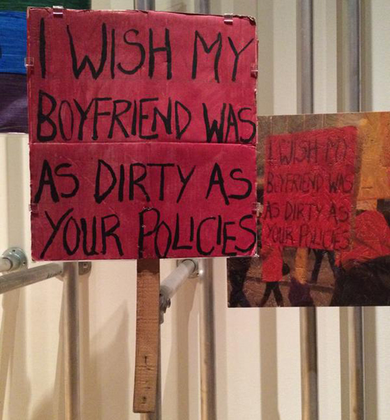 'I Wish My Boyfriend...' placard from Disobedient Objects at the V&A