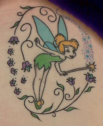 bela tatuagem da sininho com varinha e flores tattoo da