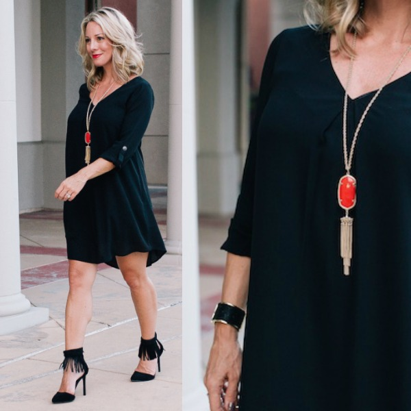 Black dress and red heels under $50