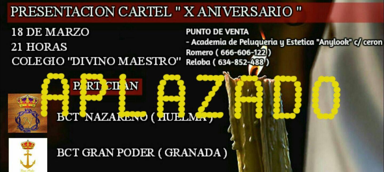 """APLAZADO LA PRESENTACIÓN CARTEL """"X ANIVERSARIO"""" EN JAÉN"""