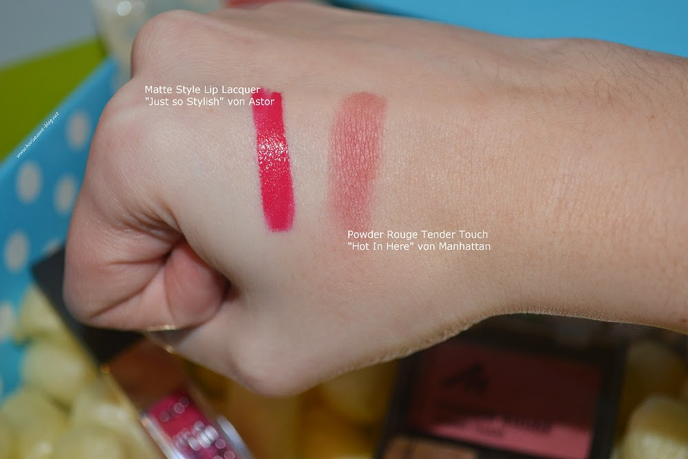 dmLieblinge Februar 2015 (Swatch) Astor Matte Style Lip Lacquer Just so Stylish, Manhattan Powder Rouge Tender Touch Hot In Here