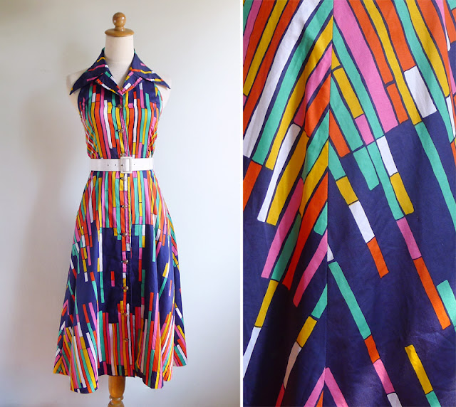 vintage 80's colorful striped halter shirt dress