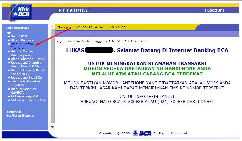 cara hapus daftar transfer internet banking bca