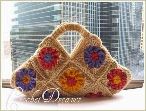Crochet Dreamz: Floral Bag, Granny Square Bag, Free ...