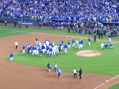 The Kansas City Royals celebrate their ALCS Championship on Oct 23 in Kauffman Stadium