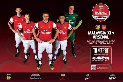 Harga Tiket Malaysia Vs Arsenal 24 Julai 2012 Online