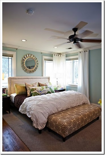 love the soothing wall color and the sunburst mirror i was already