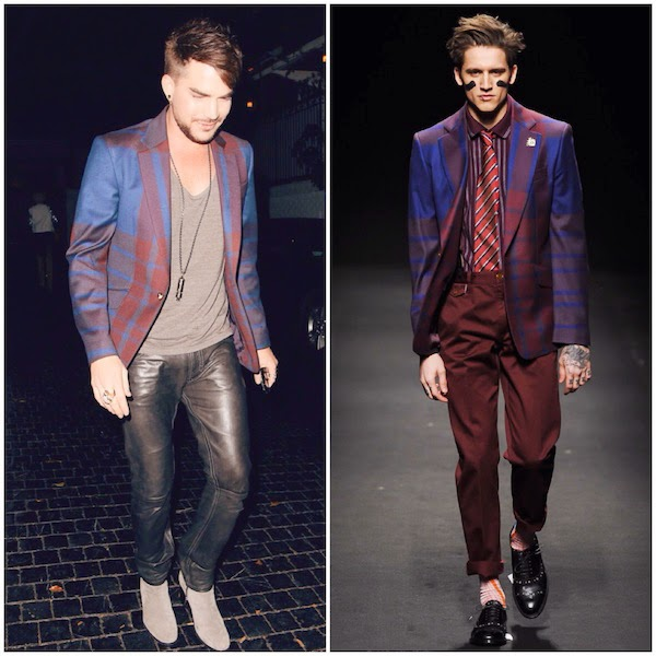 Adam Lambert wears Vivienne Westwood maroon and blue checked blazer at Chateau Marmont 14th November 2014