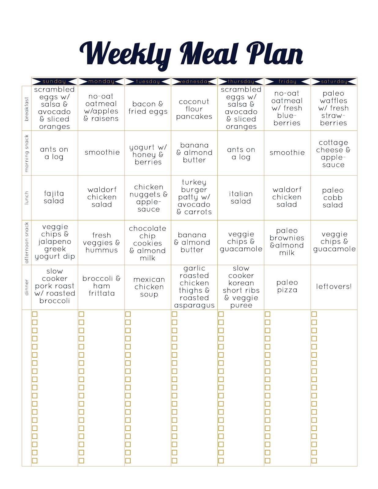 Paleo Template Meal Plan Week