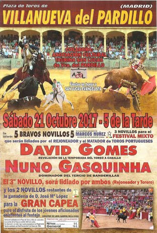 CARTEL VILLANUEVA DEL PARDILLO (MADRID) 21-10-2017.FESTIVAL MIXTO.