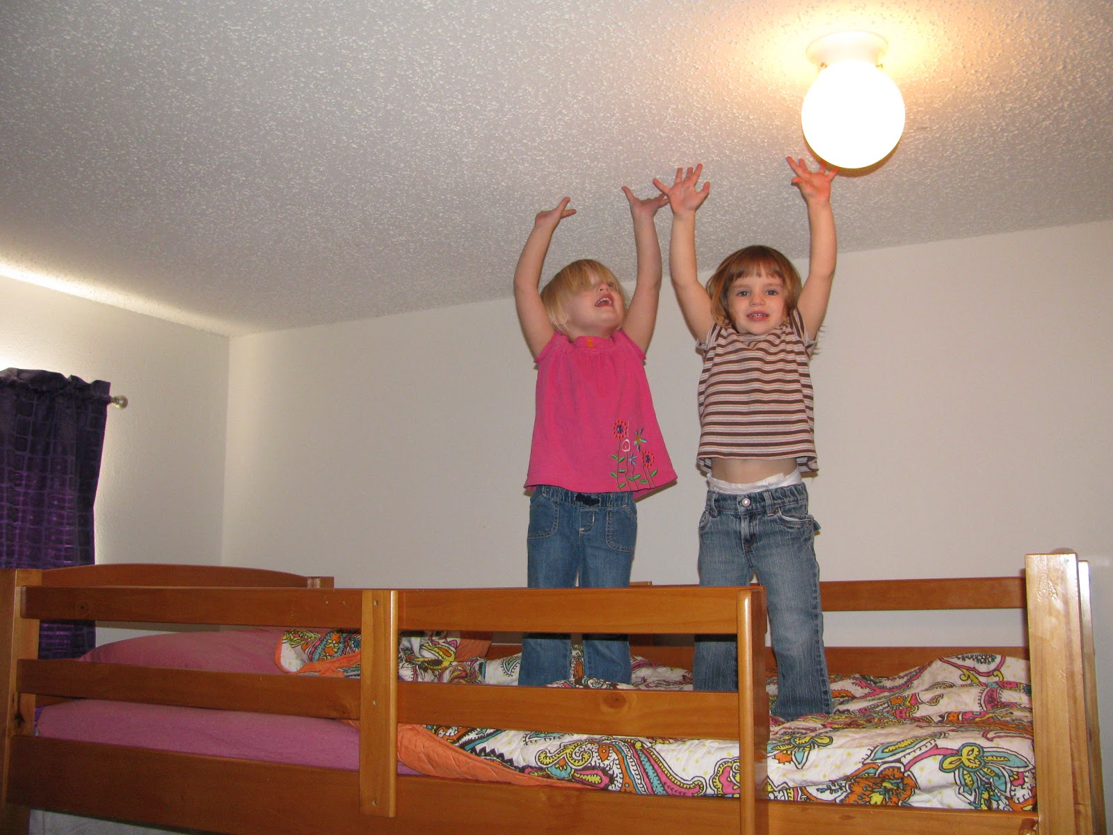Top bunk bed curtains - My Kids Showing How Much Space They Have On The Top Bunk
