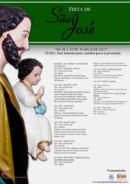 Programação da Festa de São José em Almino Afonso