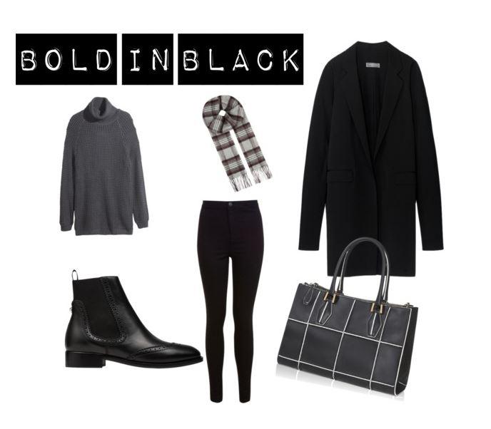black coat skinny jeans black jeans tartan scarf grey scarf chelsea boots polo neck zara