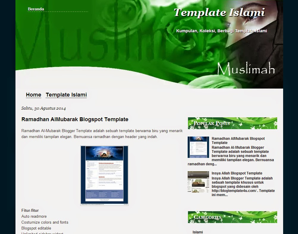 Muslimah Theme - Free Islamic Blogspot Template - Seo Friendly
