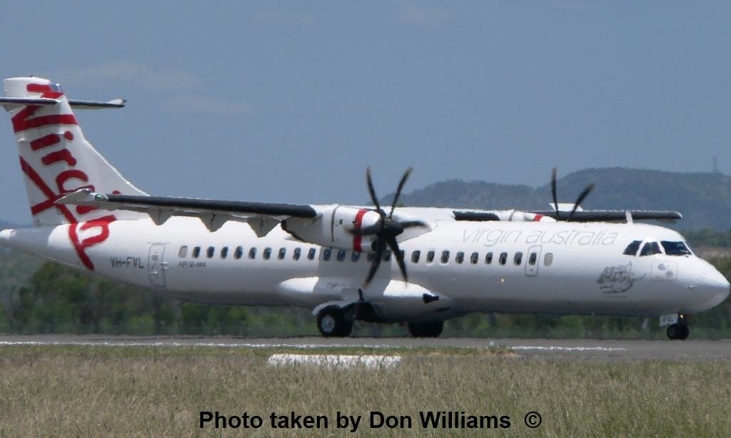 Skywest Airlines ATR 72 500 VH FVL also pops into Rockhampton Airport