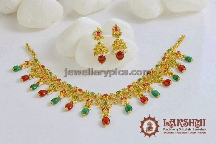 uncut necklace set with ruby emerald beads